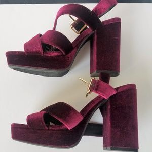 Velvet Perforated Platform Heels Size 8 1/2
